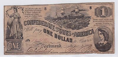 One Dollar Confederate States Of America 2 Juin 1862 (1)