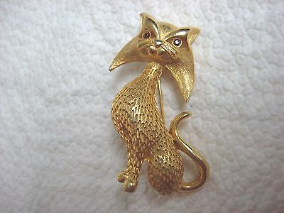 Vintage gold-tone CAT pin brooch JEWEL Eyes Marked LG