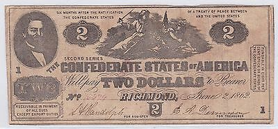 Two Dollar Confederate States Of America 2 Juin 1862 (18)