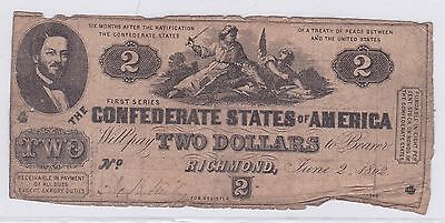 Two Dollar Confederate States Of America 2 Juin 1862 (3)