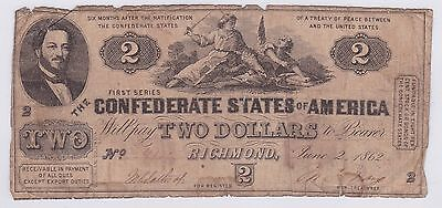 Two Dollar Confederate States Of America 2 Juin 1862 (7)