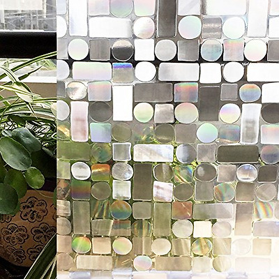 CottonColors Privacy Frosted Window Film No-Glue Self Adhesive 3D Static Decorat