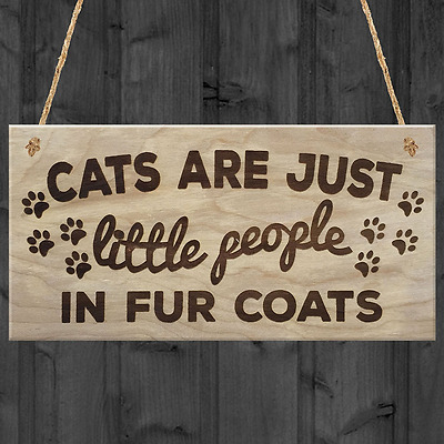 Red Ocean Cats Are Just Little People In Fur Coats Plaque Wooden Hanging Sign Ca