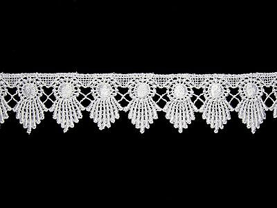 """1.75"""" White & Ivory Rayon Venice Lace Scalloped Edge DIY sewing Notions By Yard"""