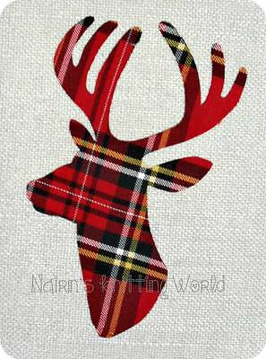 Stag Head - Deer - Red - Tartan - Fabric - Cut Out - Iron - Sew On - Applique