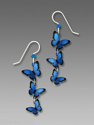 Sienna Sky 3 Part 3D BLUE MORPHO Butterfly EARRINGS STERLING Silver 1786 + Box