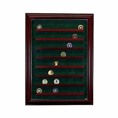 64 Coin Cabinet Style Display Case Challenge Coin Hinged Door Glass Suede