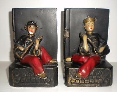 Vintage Chalkware Asian Oriental Chinese Man Woman Mandolin Bookends