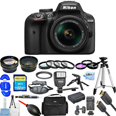 Nikon D3400 DSLR Camera with AF-P 18-55mm Lens (Black)!! USA MODEL MEGA KIT NEW!
