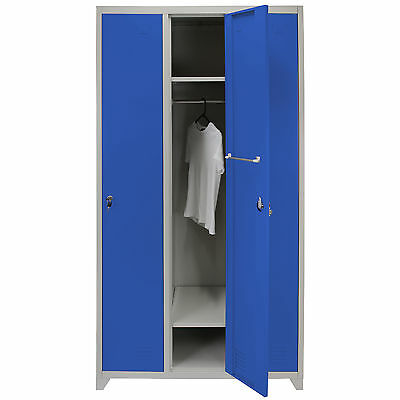 Metal Lockers 3 Doors Steel Staff Storage Lockable Gym Changing Room School Blue