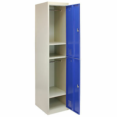 Metal Lockers 2 Doors Steel Flatpack Storage Lockable Gym School Blue – 45cm D