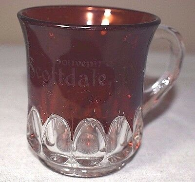 Antique Ruby Red Flash EAPG Glass Cup -Etched Souvenir of Scottsdale, Pa.