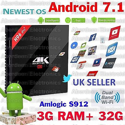 3GB/32G H96 Pro+ Android 7.1 TV BOX Amlogic S912 Octa Core  4K KODI 17