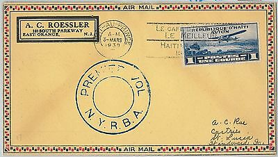 62704 - HAITI - AVIATION   First Flight Cover: ST LUCIA - not in Muller!  1930