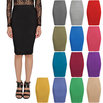 Womens Fitted Pencil Below Knee Length Bodycon Tube Strechy Midi Skirt