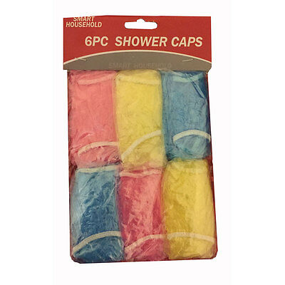 6 ELASTICATED WATERPROOF SHOWER CAPS WATER BATH HAIR PROTECTOR COVERS CAP New