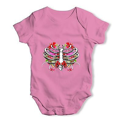 Twisted Envy Floral Heart Ribcage Baby Unisex Funny Baby Grow Bodysuit
