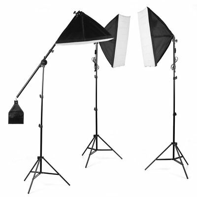 Kit d'éclairage Continu Photo Studio Softbox 135W Ampoule Trépied Boom Arm