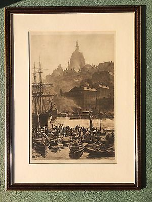 19th Century signed etching Stockholm 1888 by Axel Herman Haig ( 1835 - 1921 )