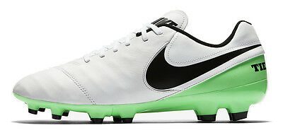 Nike TIEMPO GENIO II FG Mens White Green Leather Athletic Outdoor Soccer Cleats