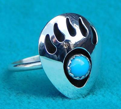 """large Bear Paw"" Native Turquoise Silver Ring Size ""l"""