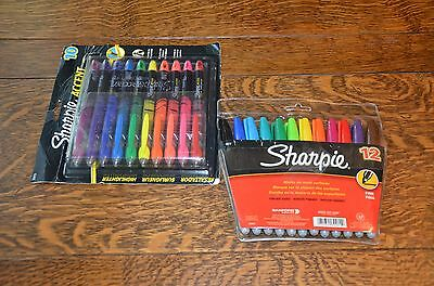 Lot Of 2 - Sharpie Fine Point - 12 Pack Permanent Markers & 10 Pack Highlighters