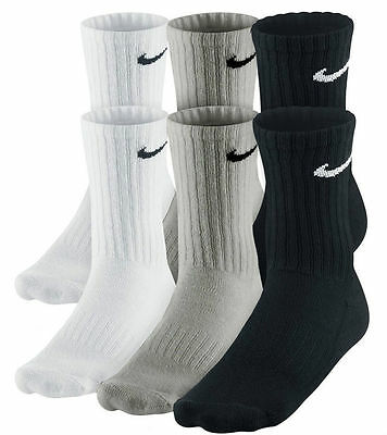 6 PACK NIKE Logo Sports Socks, Pairs Mens Womens Ladies  Unisex White Grey Black