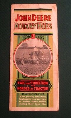 1936 John Deere Rotary Hoes 2 & 3 Rows for Horse or Tractor Sales Brochure