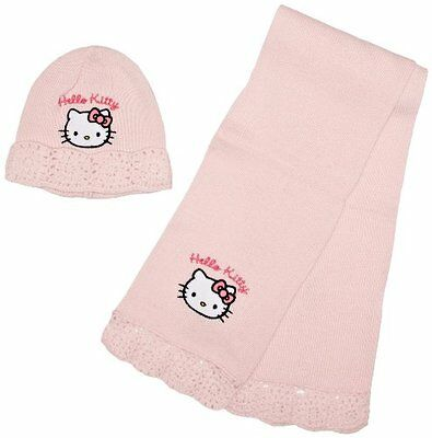 Rosa (Pink) (TG. 52 cm- UK) Hello Kitty - Set Sciarpa E Cappello, bambina, Rosa