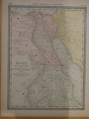 1882 Rand McNally map of Egypt, Arabia Petrea, and Lower Nubia