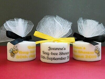 Personalised Candle Tea light Baby Shower Favours  With Cute Teddy Set of 15