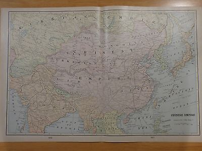 1901 map of Chinese Empire, Japan, India, Central Asia, Korea, from Cram's atlas