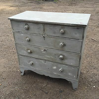 Lovely Large Antique Painted Chest Of Drawers Vintage Sideboard Dresser