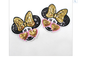 Minnie Mouse embroidery patch 8.2cm x 8cm (receive 2) Iron On Sequins