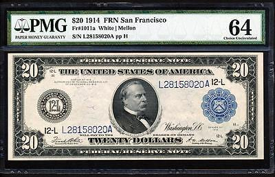 "Fr.1011A 1914 $20 SAN FRANCISCO FRN ""WHITE-MELLON"" + PMG CHOICE UNCIRCULATED 64"