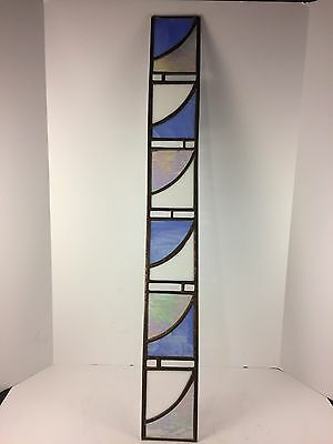 "Beveled Stained Glass Window Panel Iridescent 36""x4.5"" Sky Blue White Copper"