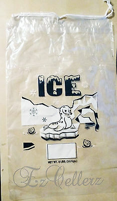 CLEAR 8 LB / LBS Plastic Ice Bag Bags With Drawstring **PACK OF 100** Case NEW