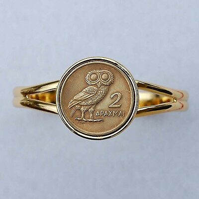 1973 Greece 2 Drachma Athena's Owl & Phoenix Coin Gold Plated Cuff Bracelet NEW