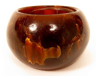 Bakelite Dark Brown Amber Color Marbled Wide 17Mm Band Ring*Size 6*Tested*W14