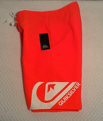 Youth Boy's Neon Orange QUIKSILVER SWIMWEAR SHORTS Sz 24 Boardshorts ~ NWT