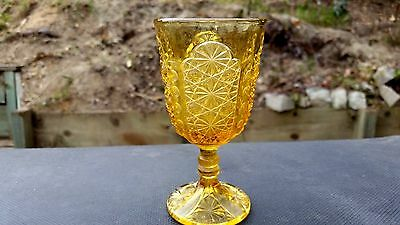 Adams & Co EAPG Amber Daisy and Button Thumbprint Panel 4 oz. Juice Goblet 1891