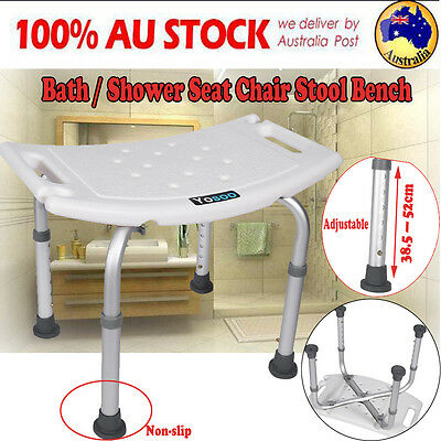 Adjustable Shower Seat Chair Non-slip Bath Stool Bench White Soft Pad Shower Aid