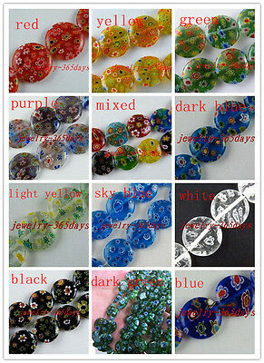 Millefiori Glass Flat Spacers 10mm/12mm/14mm/16mm 12colors-1 P221-P265