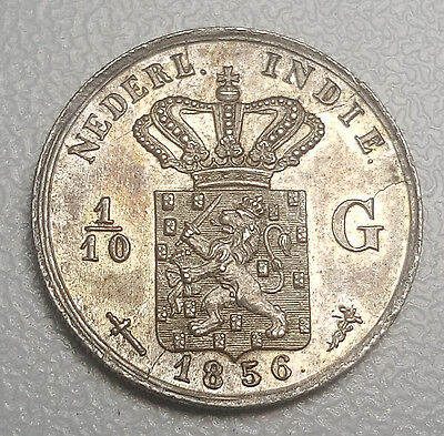 1856 Netherlands East Indies 1/10 Gulden KM# 304.1 Silver AU Coin