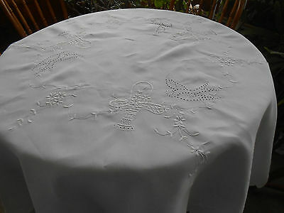 Fantastic White Linen Tablecloth/open Work Hand Embroidery Of Birds,  Circa 1920