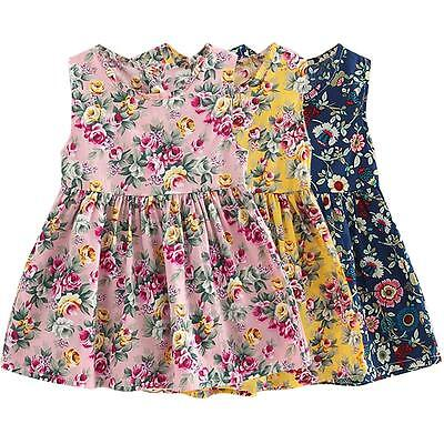 Toddler Baby Girls Summer Sleeveless Floral Princess Party Wedding Dress 3-11Y