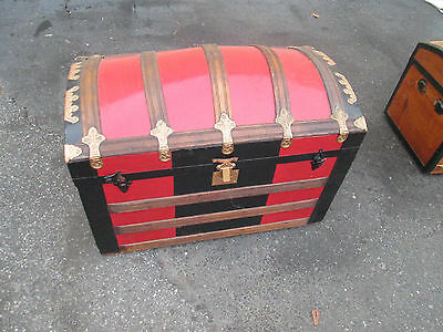 56468 Antique Dome Top Trunk Chest w/ Tray