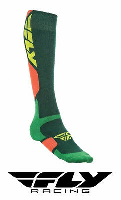 Fly Racing Mx Pro Thick Motocross Socks Tall Sock Green/orange Adult Size
