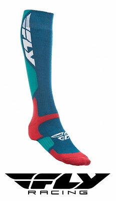 Fly Racing Mx Pro Thick Motocross Socks Tall Sock Blue/red Adult Size