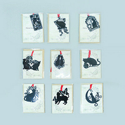 1Pcs Gift Metal New Black Lovely Bookmarks Stationery Items Creative Cute Cat